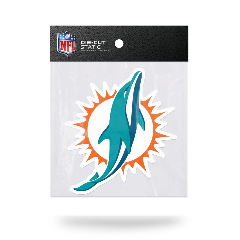 Miami Dolphins NFL Vinyl Static Cling 6 W X 5T