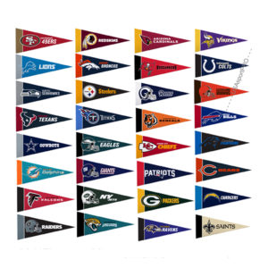 Set of 32 NFL team mini pennant 9x4 inch felt