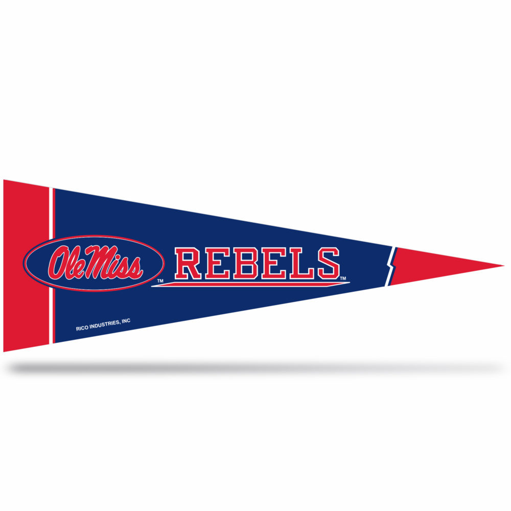 Mississippi Rebels Middle Man Pennant 5 X 14 inch, Felt, Mad in USA