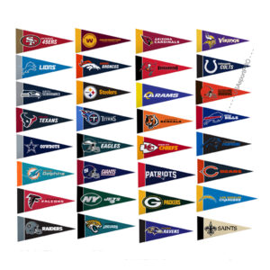 NEW Set of 32 NFL team mini pennant 9x4 inch felt